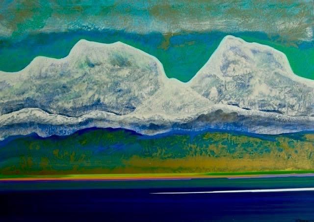 Guy Dessauges - lac et montagnes neigeuses